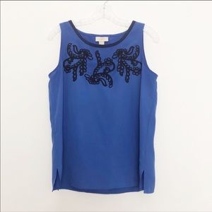 Loft Embroidered Sleeveless Top Blue Size Small
